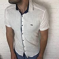 Рубашка молодежная приталенная XXL короткий рукав, слим. Турция турецкая мужская, лен Белый