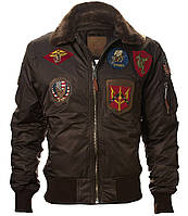 Бомбер Top Gun Official B-15 Flight Bomber Jacket with Patches (коричневый)
