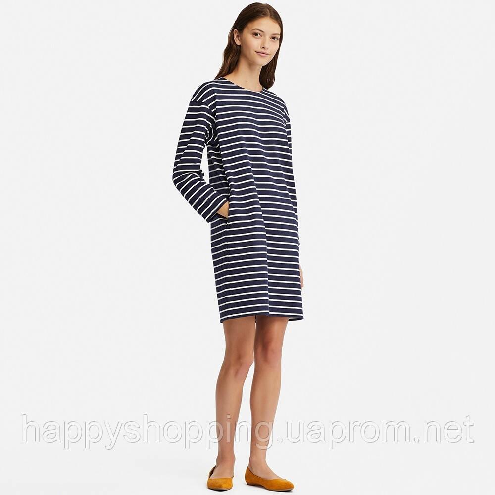 Женское темно-синее хлопковое платье   в полоску  свободного фасона Uniqlo