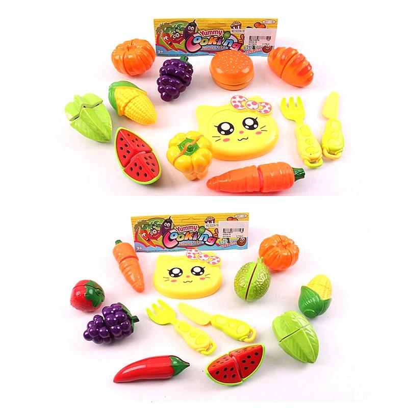 Овочі та фрукти 5020A-18/19 2види,діляться навпіл,ніж, досточка, в пак.19см