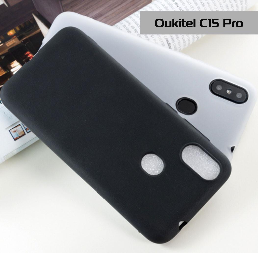 Защитный силиконовый чехол Soft-touch для Oukitel C15 Pro / Есть стекло/