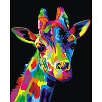 Картина по номерам Радужный жираф. Худ.Ваю Ромдони  40Х50 BabylonVP745