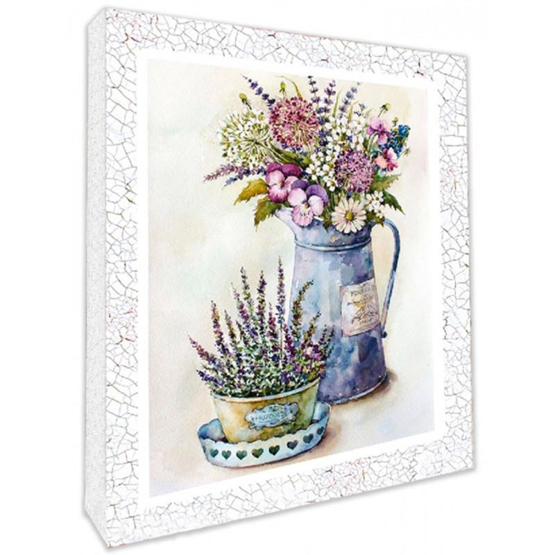 """Декупаж на полотні """"Польові квіти"""" 25х20см, арт. 94706, ІДЕЙКА"""