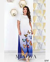 Длинное платье летнее с рукавом белое с синим размеры от 50 до 62, фото 2