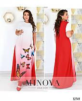 Длинное платье летнее с рукавом белое с синим размеры от 50 до 62, фото 3