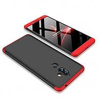 Пластиковая накладка GKK LikGus 360 градусов для Nokia 7 plus Черный / Красный