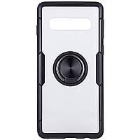 TPU+PC чехол Deen CrystalRing под магнитный держатель для Samsung Galaxy S10 Бесцветный / Черный