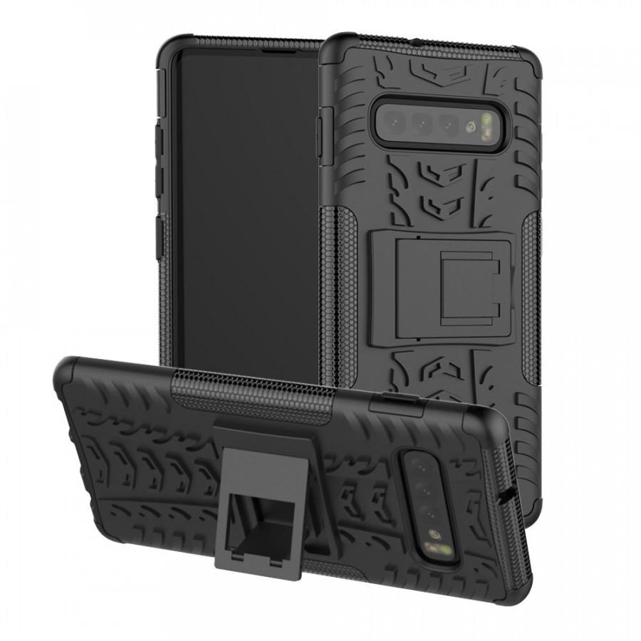 Противоударный двухслойный чехол Shield для Samsung Galaxy S10 с подставкой Черный