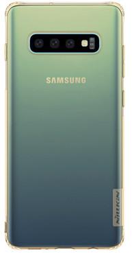 TPU чехол Nillkin Nature Series для Samsung Galaxy S10+ Золотой (прозрачный)