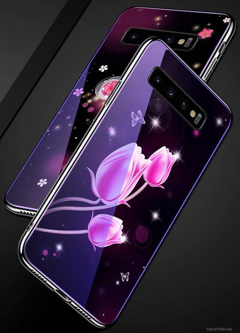 TPU+Glass чехол Fantasy с глянцевыми торцами для Samsung Galaxy S10+ Тюльпаны