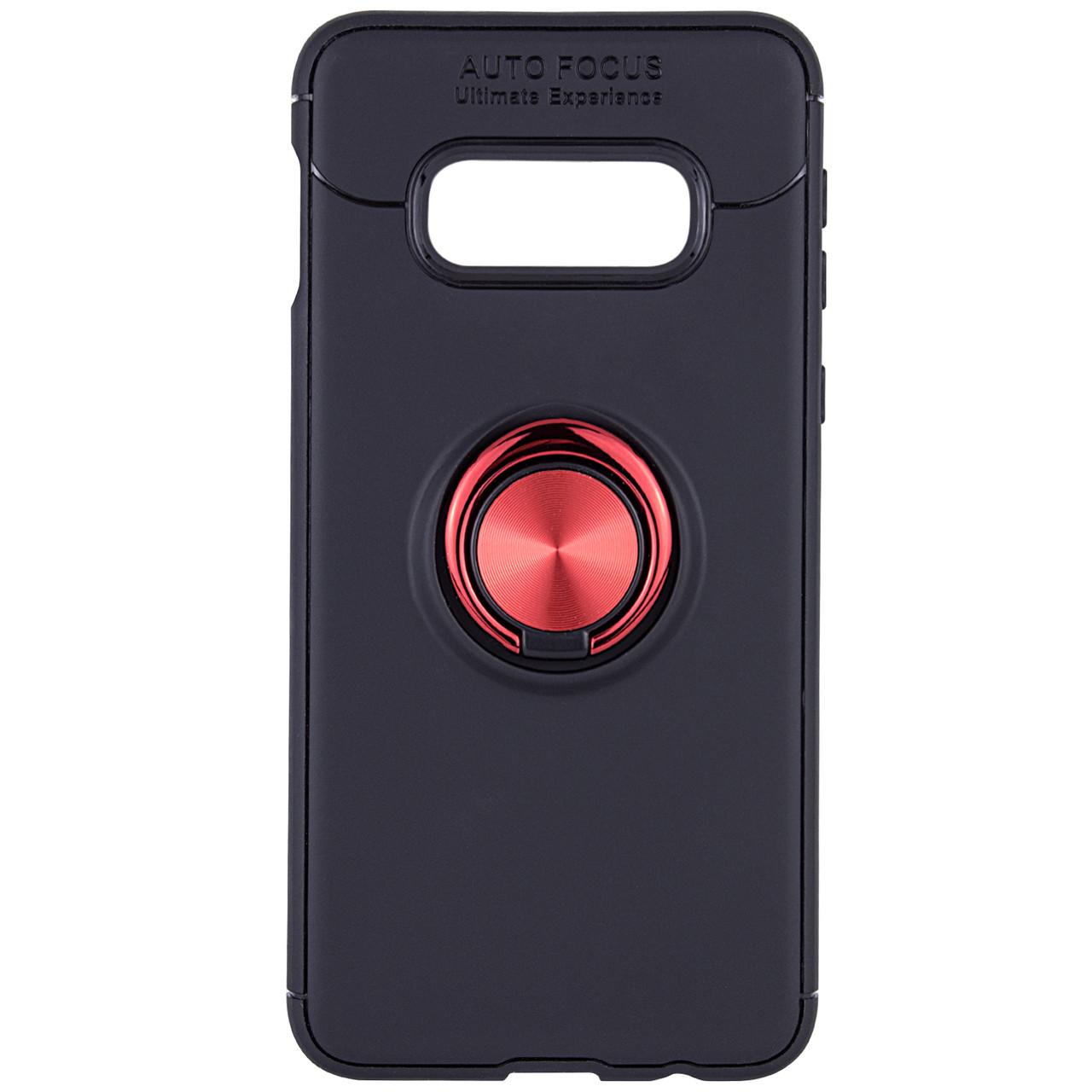 TPU чехол Deen ColorRing под магнитный держатель для Samsung Galaxy S10e Черный / Красный