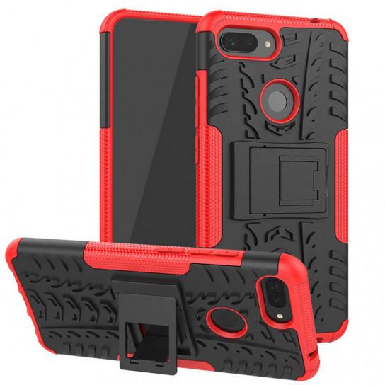 Противоударный двухслойный чехол Shield для Xiaomi Mi 8 Lite / Mi 8 Youth (Mi 8X) с подставкой Красный