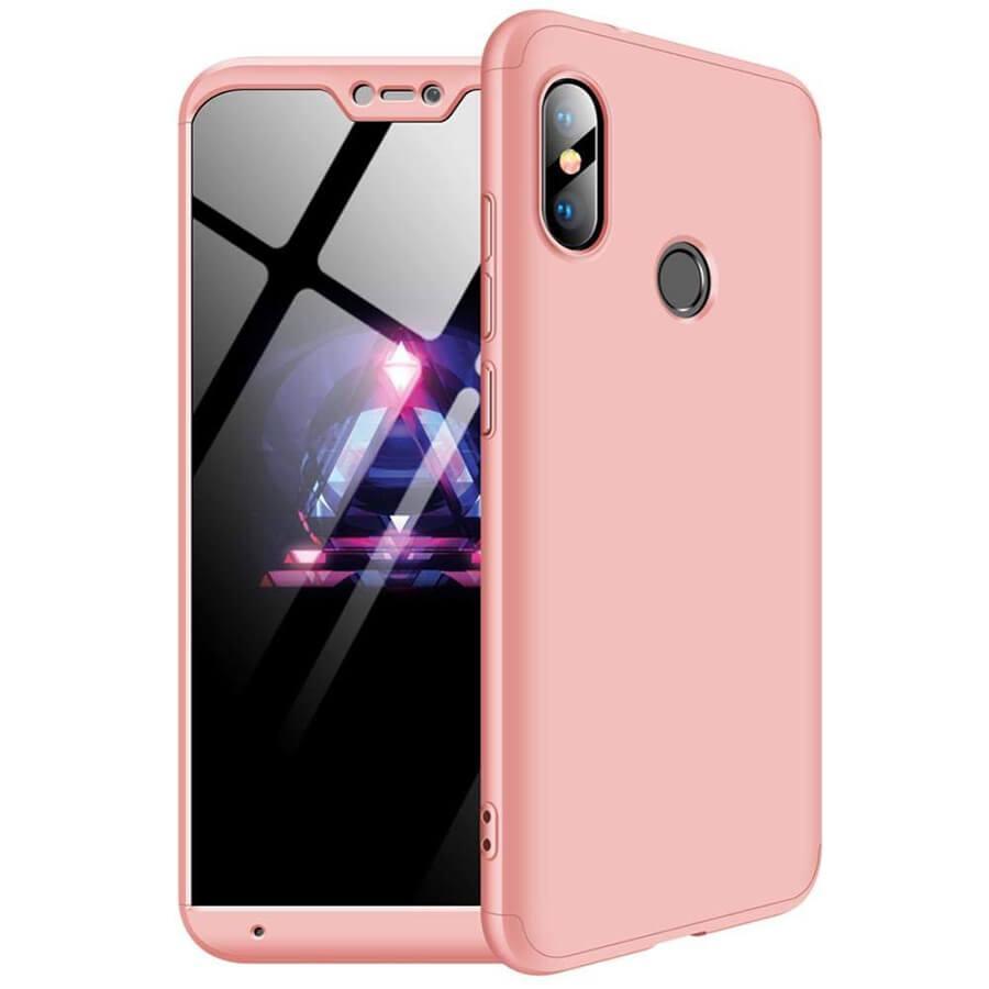 Пластиковая накладка GKK LikGus 360 градусов для Xiaomi Mi A2 Lite / Xiaomi Redmi 6 Pro Розовый / Rose Gold