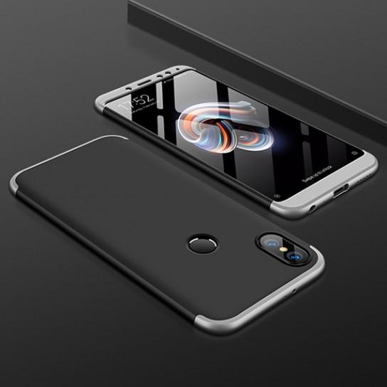 Пластиковая накладка GKK LikGus 360 градусов для Xiaomi Redmi Note 5 Pro / Note 5 (DC) Черный / Серебряный