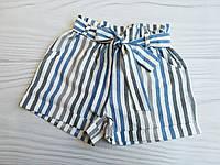 Шорты на девочку, р. 134-158, полоска микс, оттенки синего, фото 1
