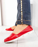 Мокасины женские кожаные красные, фото 1