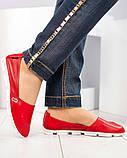 Мокасины женские кожаные красные, фото 2