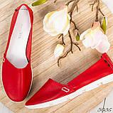 Мокасины женские кожаные красные, фото 4
