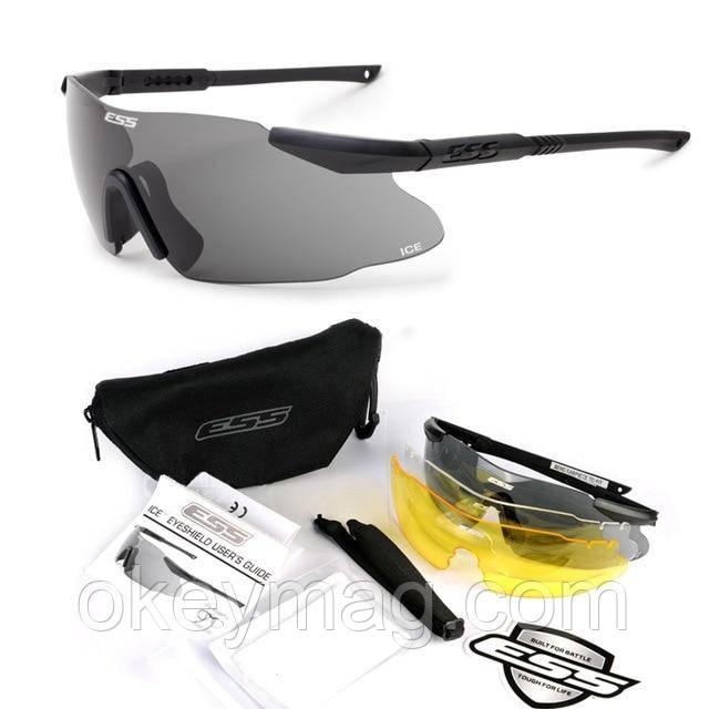 Тактические штурмовые защитные очки ESS ICE c 3 линзами стрелковые