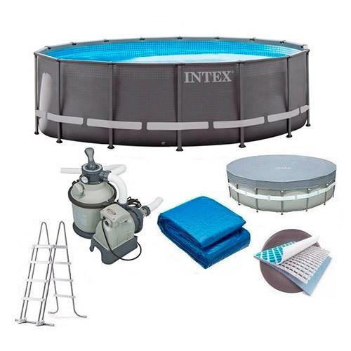 Каркасний басейн 610x122 Intex 26334 з писочным насосом підстилкою, сходами, тентом, фільтром