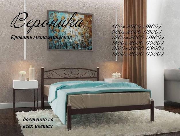 Кровать металлическая Вероника (ассортимент цветов) (с доставкой), фото 2