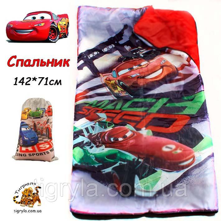 Спальник одеяло Тачки 71*142 см, Детский спальный мешок с Тачками, Макквин спальник