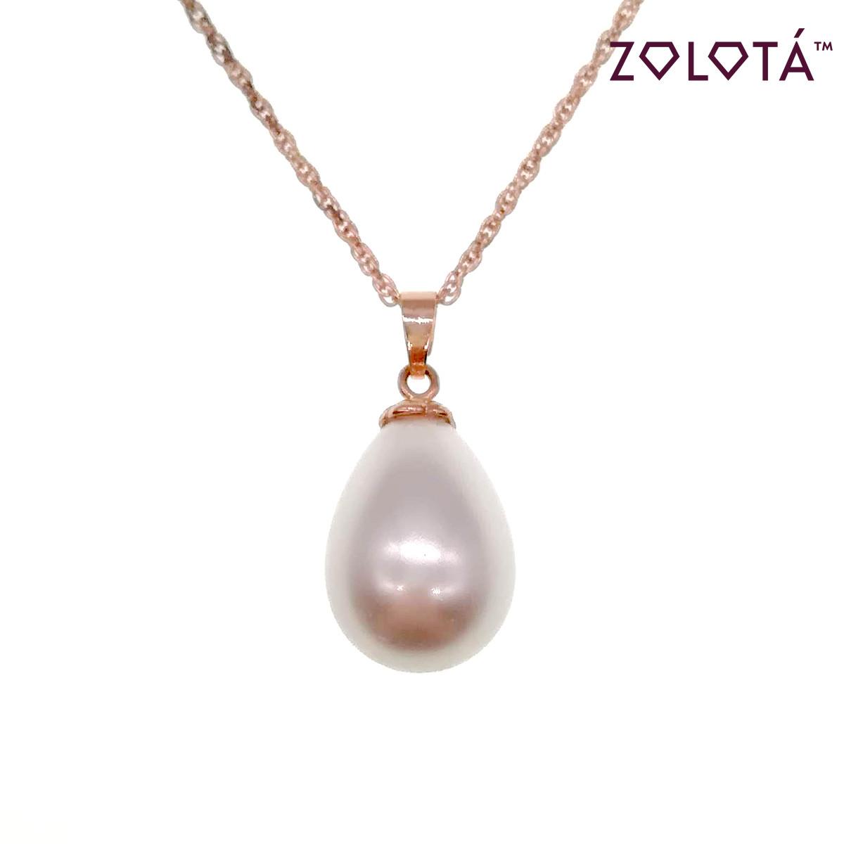 """Підвіска на ланцюжку з перлами """"майорка"""", з медичного золота, в позолоті, ЗЛ00459 (1)"""