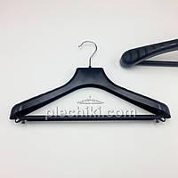 Пластиковые вешалки плечики для верхней одежды W-PLp38 черного цвета, длина 380 мм