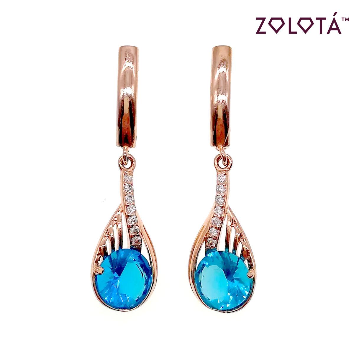Серьги Zolota с голубыми и белыми фианитами (куб. цирконием), из медицинского золота, в позолоте, ЗЛ00485 (1)