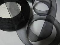 Лента органза 2,5 см чёрная