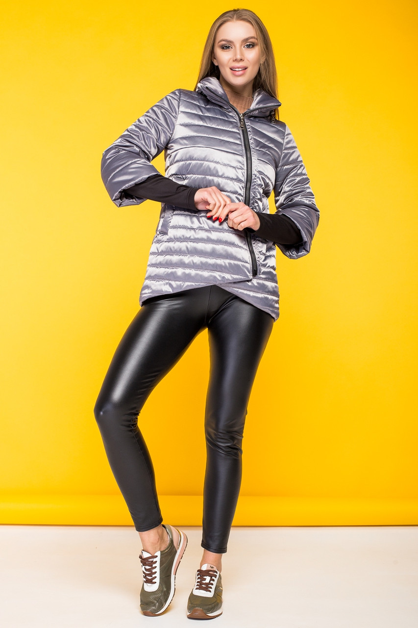 Демисезонная женская куртка KTL-122-2 серая атласная