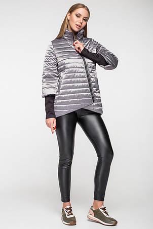 Демисезонная женская куртка KTL-122-2 серая атласная, фото 2