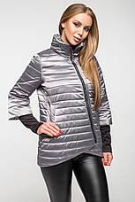 Демисезонная женская куртка KTL-122-2 серая атласная, фото 3
