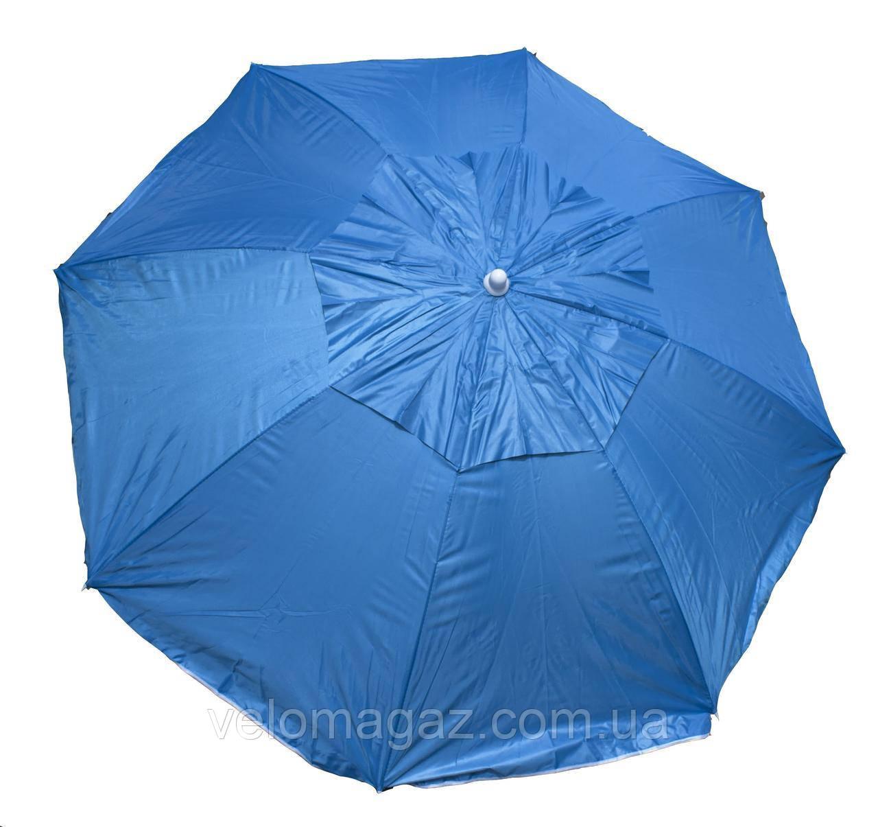 Пляжный зонт 1,6 м с наклоном, воздушный клапан, чехол, голубой