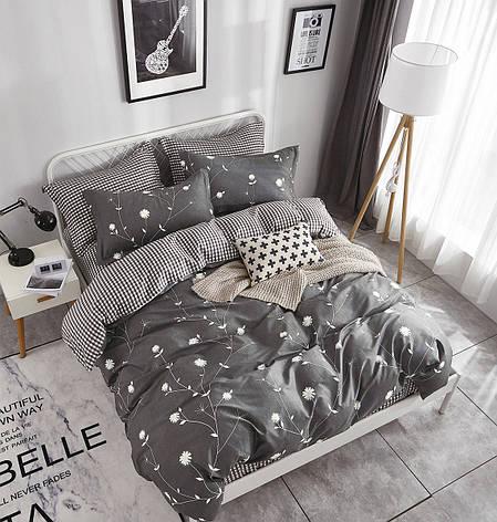 Двуспальный комплект постельного белья евро 200*220 сатин (12188) TM КРИСПОЛ Украина, фото 2