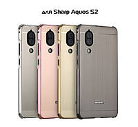 Металлический чехол бампер PZOZ  для Sharp Aquos S2 / Aquos C10 / Sharp C10 / Есть стекла/