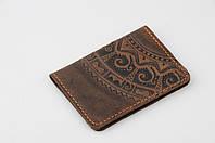 """Коричневая кожаная обложка для id паспорта/водительских прав, орнамент """"Этно"""""""