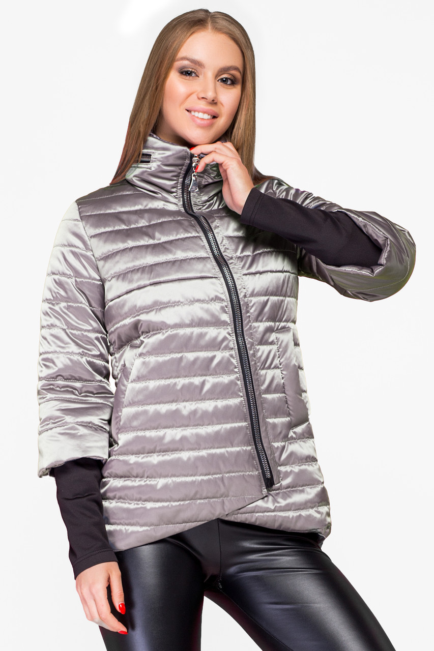 Демисезонная женская куртка KTL-122-2 бежевая атласная