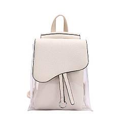 Рюкзак-сумка прозрачный с косметичкой молочный.