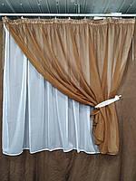 Короткая тюль для спальни из шифона ALBO 300x170 cm Коричневая (KU-139-13), фото 2