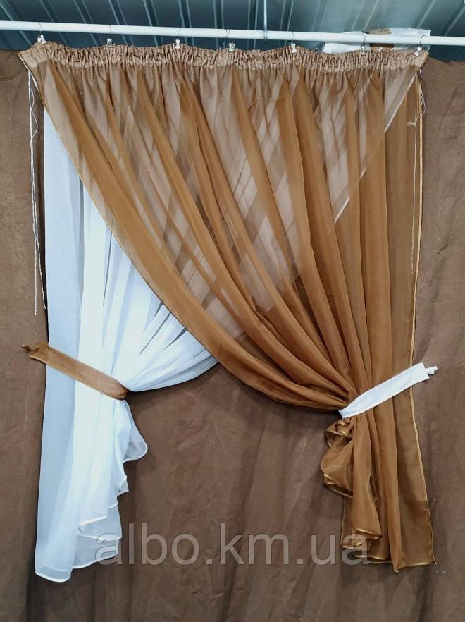 Короткая тюль для спальни из шифона ALBO 300x170 cm Коричневая (KU-139-13)
