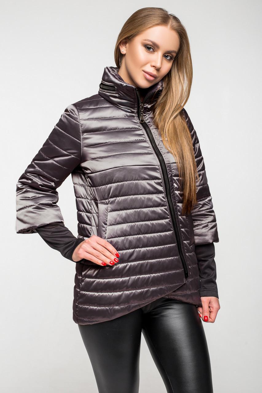 Демисезонная женская куртка KTL-122-2 капучино атласная