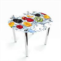 Стол кухонный стеклянный Круглый Berry Mix 70х70 *Эко (БЦ-стол ТМ)