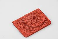 """Красная кожаная обложка для id паспорта/водительских прав, орнамент """"Мандала"""""""