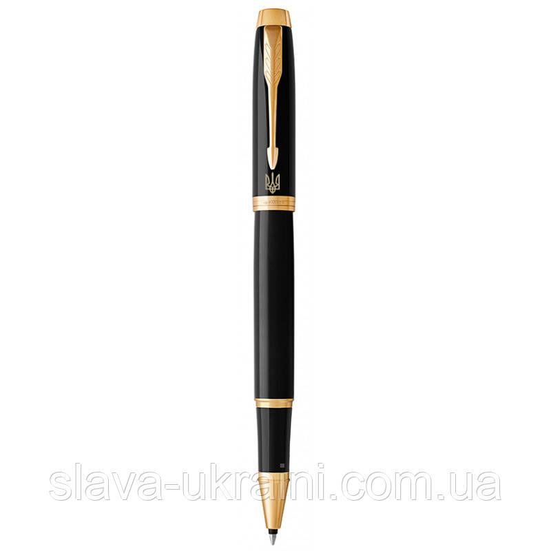Ручка роллер Parker IM 17 Black GT RB Трезубец на клипе 22 022_TR4