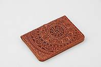 """Рыжая кожаная обложка для id паспорта/водительских прав, орнамент """"Мандала"""""""