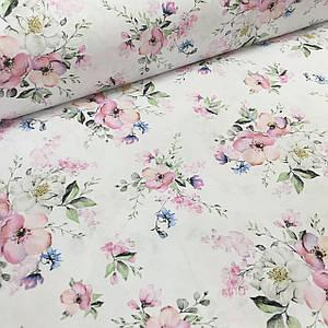 Ткань польская хлопковая, букет розово-сине-белый крупный на белом