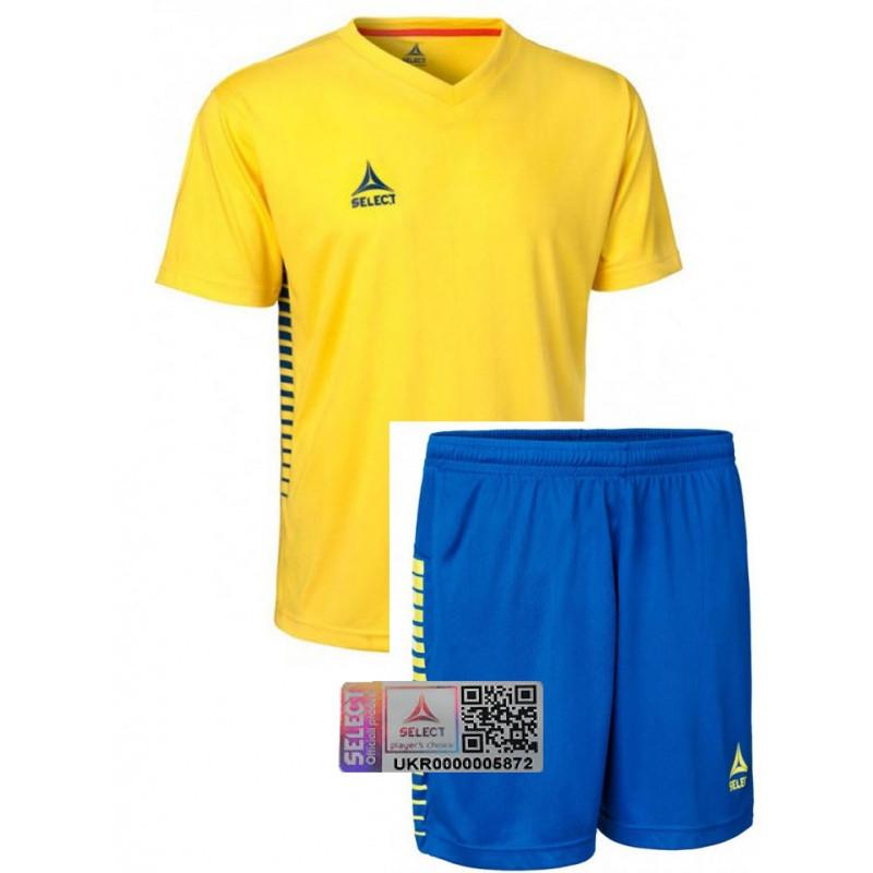 Комплект футбольной формы Select MEXICO (футболка+шорты) желто-синяя