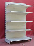 Торговые односторонние стеллажи «Микрон» (Украина), 210х125 см., белый, Б/у, фото 1
