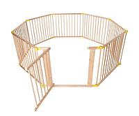 Мультиверсионный деревяный манеж - 8 панелей - длина 7 м (с желтым), фото 1